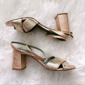 //ANTHROPOLOGIE// Rose Gold Strappy Heels